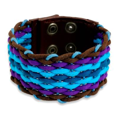 Blue Cotton and Brown Leather Wristband Bracelet for Women