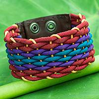 Cotton and leather wristband bracelet, 'Rainbow Weave' - Handcrafted Cotton Bracelet  for Women in Rainbow Colors