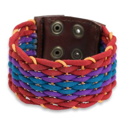 Handcrafted Cotton Bracelet for Women in Rainbow Colors