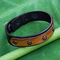 Leather bracelet, 'Exotic Rustic'