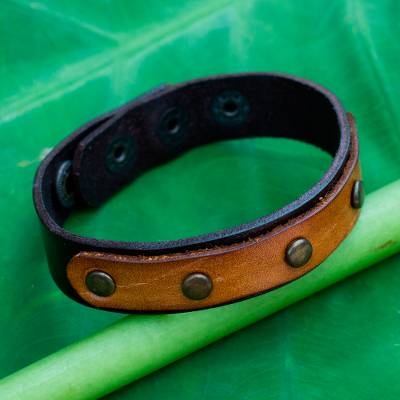 Leather bracelet, 'Exotic Rustic' - Handmade Brown Leather Bracelet with Brass Studs