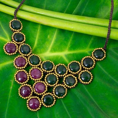 Beaded quartz necklace, 'Autumn Garden Path' - Fair Trade Bead Necklace with Burgundy and Green Quartz