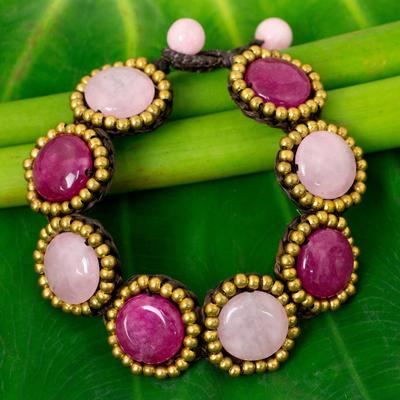 Beaded quartz bracelet, 'Spring Garden Path' - Pink Quartz and Brass Bead Bracelet on Brown Cords