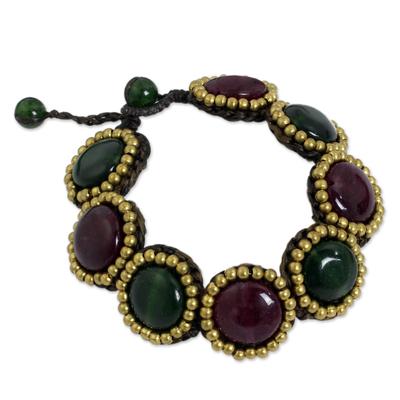 Handcrafted Brass and Quartz Bead Bracelet