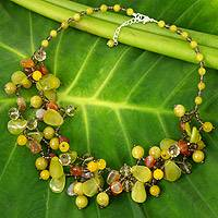 Serpentine and quartz beaded necklace, 'Springtime Symphony' - Fair Trade Serpentine and Quartz Beaded Necklace
