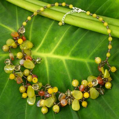 Serpentine and quartz beaded necklace, Springtime Symphony