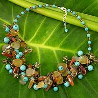 Carnelian and calcite beaded necklace, 'Winter Symphony' - Fair Trade Artisan Necklace with Carnelian and Blue Calcite