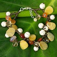 Carnelian and quartz beaded bracelet, 'Autumn Symphony'