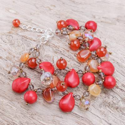 Jasper and carnelian beaded bracelet, 'Summer Symphony' - Handmade Jasper and Carnelian Bracelet from Thailand