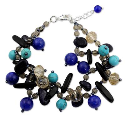 Artisan Made Bracelet with Onyx and Quartz Beads
