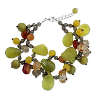 Multi-Gemstone Bead Bracelet with Serpentine and Quartz