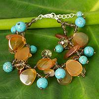 Carnelian and calcite beaded bracelet, 'Winter Symphony' - Turquoise Calcite and Carnelian Bracelet with Smoky Quartz