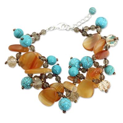 Carnelian and calcite beaded bracelet, 'Winter Symphony' - Turquoise Calcite and Carnelian Bracelet with Smoky Quartz