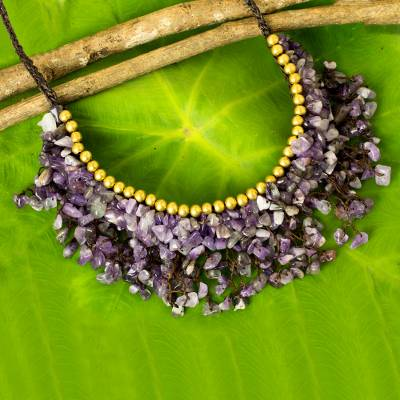 Beaded amethyst necklace, 'Dance Party' - Amethyst Chip and Brass Bead Necklace from Thai Artisan