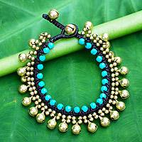 Beaded calcite bracelet, 'Summer Bells' - Handcrafted Turquoise Blue Calcite and Brass Bracelet