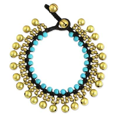 Beaded calcite bracelet, 'Summer Bells' - Handcrafted Turquoise Blue Calcite and Brass Bracelet