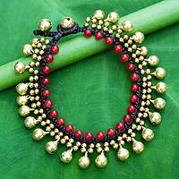 Beaded quartz bracelet, 'Summer Chimes' - Fair Trade Beaded Bracelet with Red Quartz and Brass