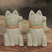 Celadon figurines, 'Lucky Green Cat' (pair) - Lucky Cat Thai Celadon Ceramic Figurines in Green (Pair)