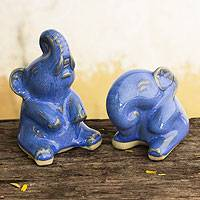 Celadon ceramic statuettes, 'Happy Dark Blue Elephants' (pair) - Deep Blue Celadon Ceramic Elephant Figurines (pair)