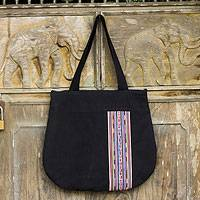 Novica Leather and cotton shoulder bag, Indigo Collage - Hill Tribe Leather Accent and Cotton Shoulder Bag