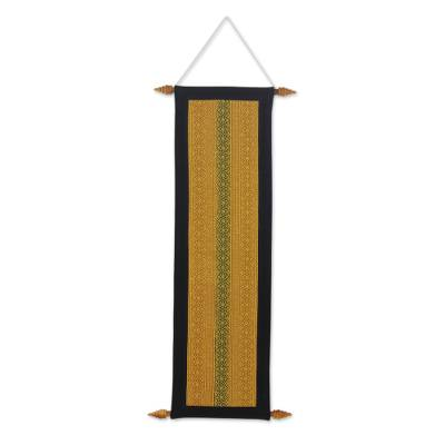 Cotton wall hanging, 'Thai Heaven' - Woven Cotton Thai Style Wall Hanging with Wood Rods