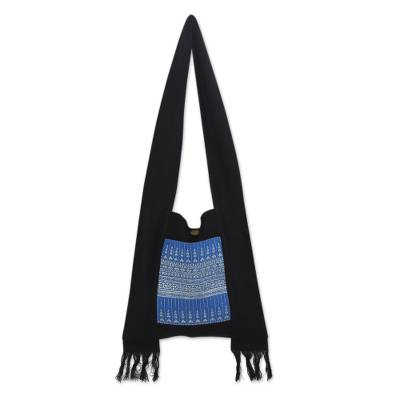 Artisan Handmade Blue and Black Cotton Handbag