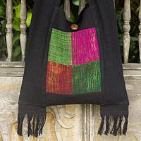 Cotton shoulder bag, 'Thai Jewel' - Fair Trade Multicolor and Black Cotton Shoulder Bag