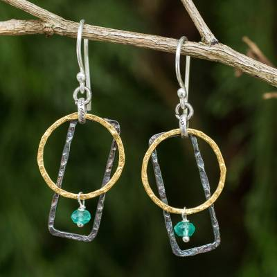 Gold plated dangle earrings, 'Green Energy' - Gold Plated Geometric Earrings with Sterling Silver and Onyx