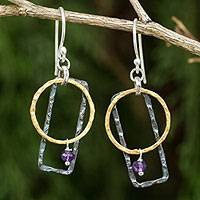 Gold plated amethyst dangle earrings, 'Lilac Energy' - Gold Plated Amethyst Earrings with Sterling Silver