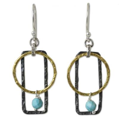 Gold plated dangle earrings, 'Turquoise Energy' - Geometric Earrings in Gold Plate Sterling Silver and Calcite