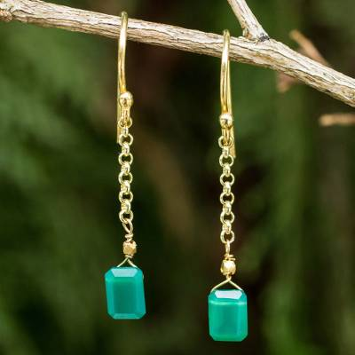 Gold vermeil onyx dangle earrings, 'Living Soul' - Thai Artisan Crafted 24k Gold Vermeil Green Onyx Earrings