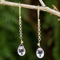 Gold vermeil amethyst dangle earrings, 'Rising Star' - Artisan Crafted 24k Gold Vermeil Amethyst Earrings Thailand