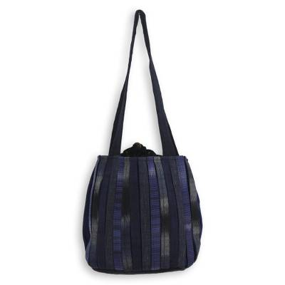 Cotton shoulder bag, 'Orient Blue' - Hand Woven Cotton Shoulder Bag in Blue and Black