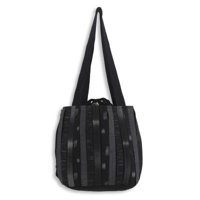 Cotton shoulder bag, 'Orient Black' - Dark Ikat Style Hand Woven Cotton Shoulder Bag with Pockets