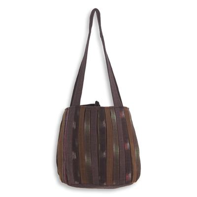 Cotton shoulder bag, 'Oriental Dark Brown' - Ikat Style Hand Woven Cotton Shoulder Bag with Pockets