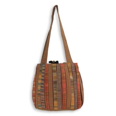 Cotton shoulder bag, 'Oriental Brown' - Pleated Shoulder Bag with 3 Pockets in Hand Woven Cotton