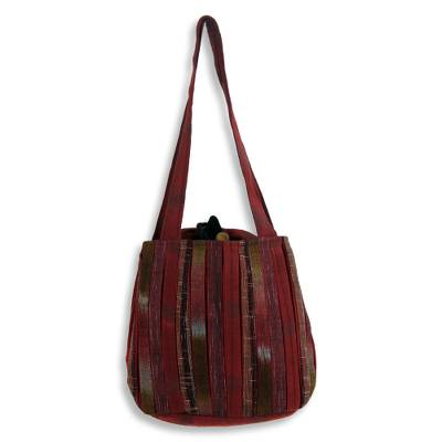 Cotton shoulder bag, 'Orient Red' - Hand Woven Red Ikat Style Cotton Shoulder Bag with Pockets