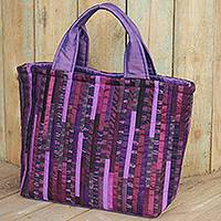 Silk tote bag, 'Exotic Purple' - Thai Hill Tribe Applique Silk Tote Bag in Purple