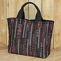 Silk tote bag, 'Exotic Black' - Hill Tribe Silk Patterned Tote Bag Multiple Pockets in Black