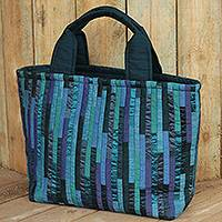 Silk tote bag, 'Exotic Blue' - Hand Woven Silk Hill Tribe Tote Bag in Shades of Blue