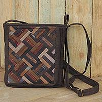 Cotton shoulder bag, 'Brown Siam' - Thai Applique Shoulder Bag in Brown Cotton and 3 Pockets