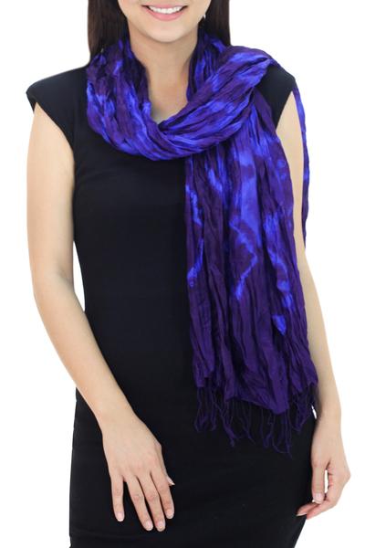Silk scarf, 'Indigo Dance' - Blue Purple Tie-dye Silk Scarf Crafted by Hand in Thailand