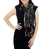 Silk scarf, 'Forest Mystique' - Green Crinkled Silk Scarf with Tie Dye Patterns