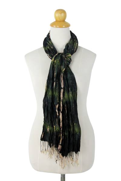 Silk scarf, 'Forest Mystique' - Green Crinkled Silk Scarf with Tie Dye Patterns