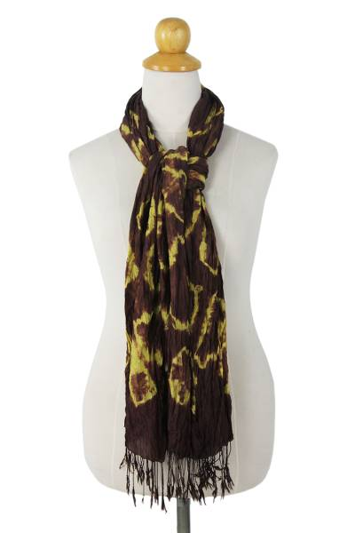 Silk scarf, 'Cocoa Dance' - Hand Crafted Green on Brown Silk Tie Dye Scarf from Thailand