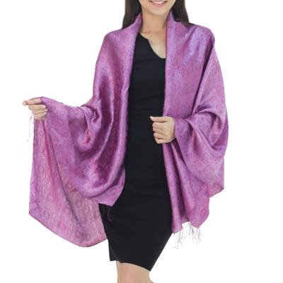 Rayon and silk blend shawl, Mandarin Plum
