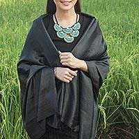 Rayon and silk blend shawl, 'Subtle Elegance in Black'