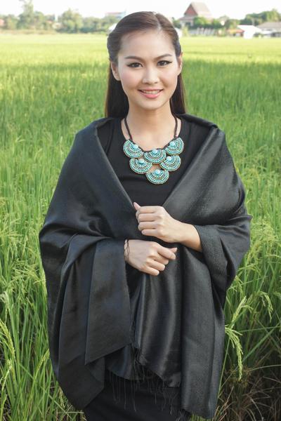 Rayon and silk blend shawl, 'Subtle Elegance in Black' - Rayon and Silk Blend Shawl in Black Floral Damask