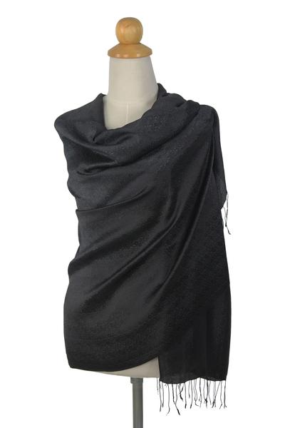 Rayon and silk blend shawl, 'Elegance in Black' - Rayon and Silk Blend Shawl in Black Floral Damask