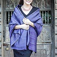 Silk and cotton blend batik shawl, 'Romance in Indigo' - Blue-Violet Silk and Cotton Blend Shawl from Thai Artisan